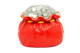 Coin pile in red bag isolated, made from plaster