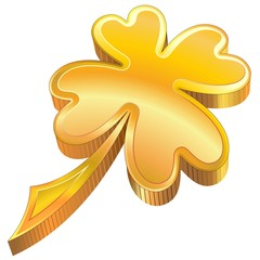 St Patrick Luck Golden Shamrock Symbol-Quadrifoglio Fortuna
