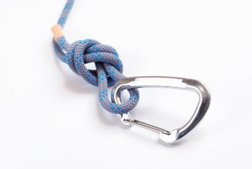 Climbing carabiner and rope with knot