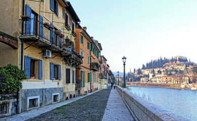 Embankment of Adige river in Verona, Italy