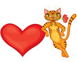 Tabby cat gives heart