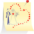 vector couple in love: the bride and groom on a sheet pinned cle