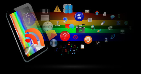Abstraction of the tablet and icons