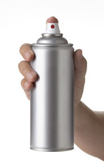 man hand spraying a blank sliver metal  spray paint can