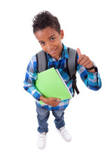 Little african american boy making thumbs up sign