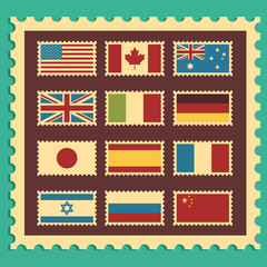 Vintage Stamps Representing World Flags