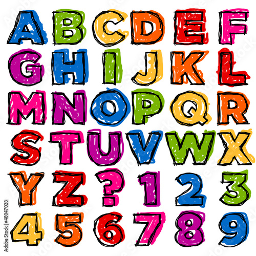 Colorful Doodle Alphabet and Numbers