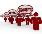 People Swearing Speech Bubbles Angry Mob poster