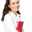 Smiling businesswoman with red folder, on white