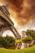 Beautiful sunset colors of Eiffel Tower with its magnificence -