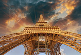 Beautiful view of Eiffel Tower in Paris with sunset colors