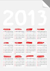 fold corner paper calendar 2013