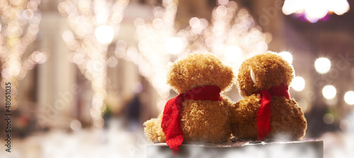 teddy bears Couple sitting on a bench back view on holiday night