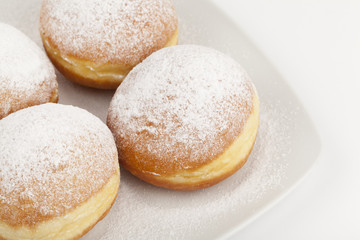 donuts on a white plate