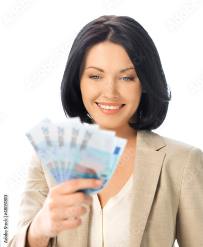 lovely woman with euro cash money