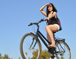 attractive happy woman with bike