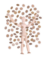 wooden doll in rain of coins