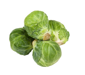 fresh aromatic brussel sprouts on a white background