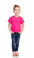 Cute little girl in jeans and t-shirt isolated