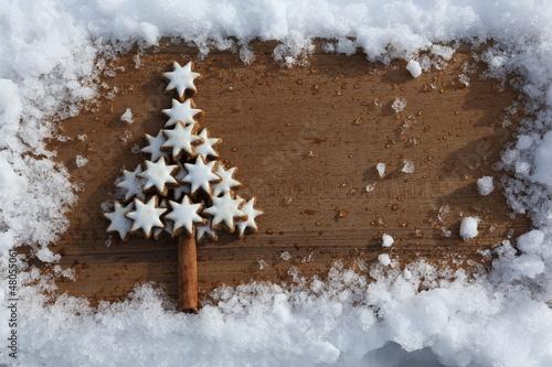 Zimtstern Weihnachtsbaum im Schnee Rahmen