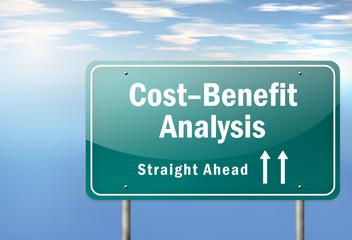 "Highway Signpost ""Cost-Benefit Analysis"""