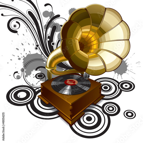 Background with a gramophone