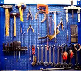 Tools in auto repairs shop