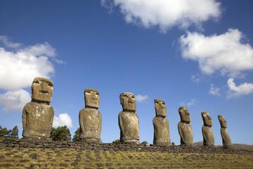 View of seven Ahu Akivi Moai, Rapa Nui, Easter Island, Chile.