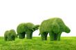 Tree Elephant shape, on green grass, The Elephant happy family