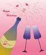Festive champagne wine glasses and hearts