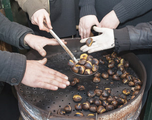 Warming hands on hot chestnuts