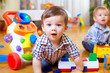 curious baby boy studying nursery room - 48062285