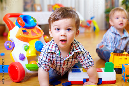 canvas print picture curious baby boy studying nursery room