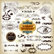 Antique vector  set of decorative labels, calligraphic elements