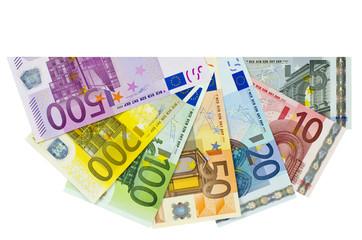 Ein Fächer mit Eurobanknoten