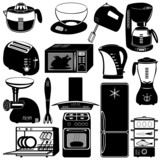 collection of kitchen appliances poster