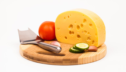 Various types of cheese with knife  isolated on white