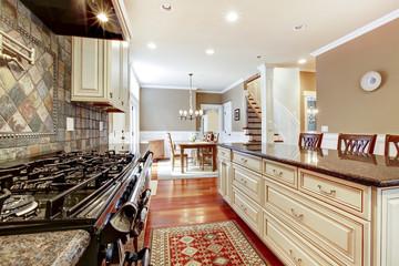 White luxury kitchen with stone, tiles large stove.