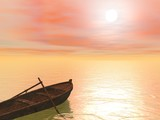 Old wood boat by sunset - 3d render - 48064012