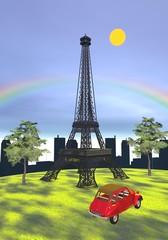Eiffel tower, Paris, France - 3D render