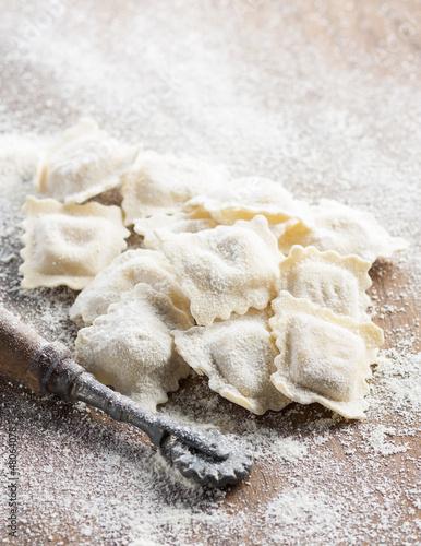 Preparing homemade ravioli