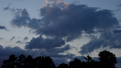 Timelapse of evening sky and clouds