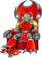 Alien Warlord on Throne Vector Art
