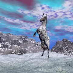 Horse rearing in the mountain - 3D render