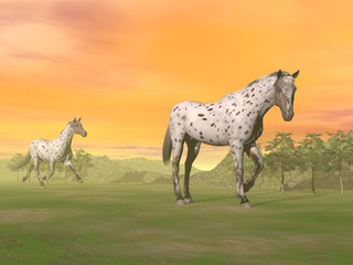 Leopard horses in nature - 3D render