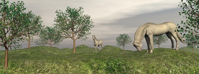 Fleabitten grey horses in nature - 3D render