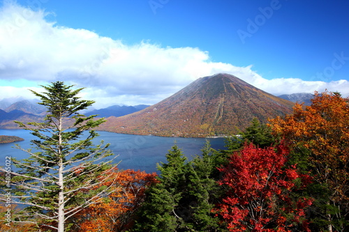 Mt. Nantai and Lake Chuzenji in Nikko, Japan
