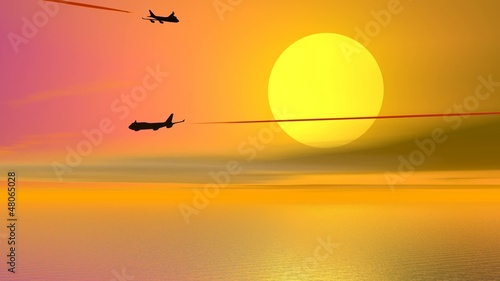 Aircrafts by sunset - 3D render