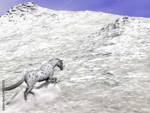 Horse climbing the mountain - 3D render