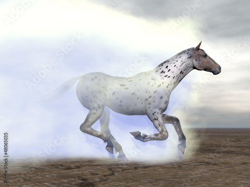Horse galloping in the clouds - 3D render